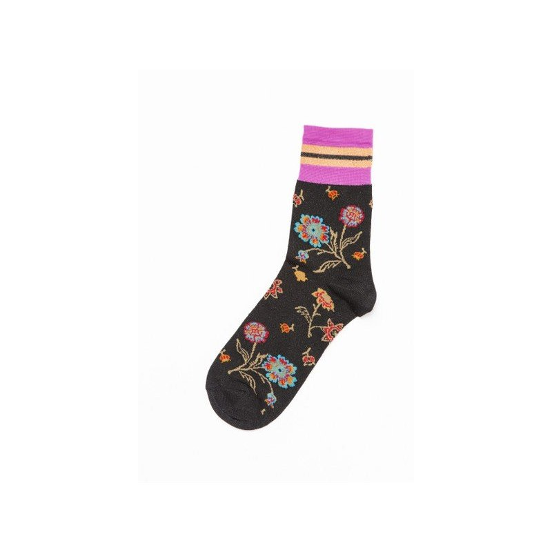 Maya Viscose Woman Socks in Viscose with Flowers