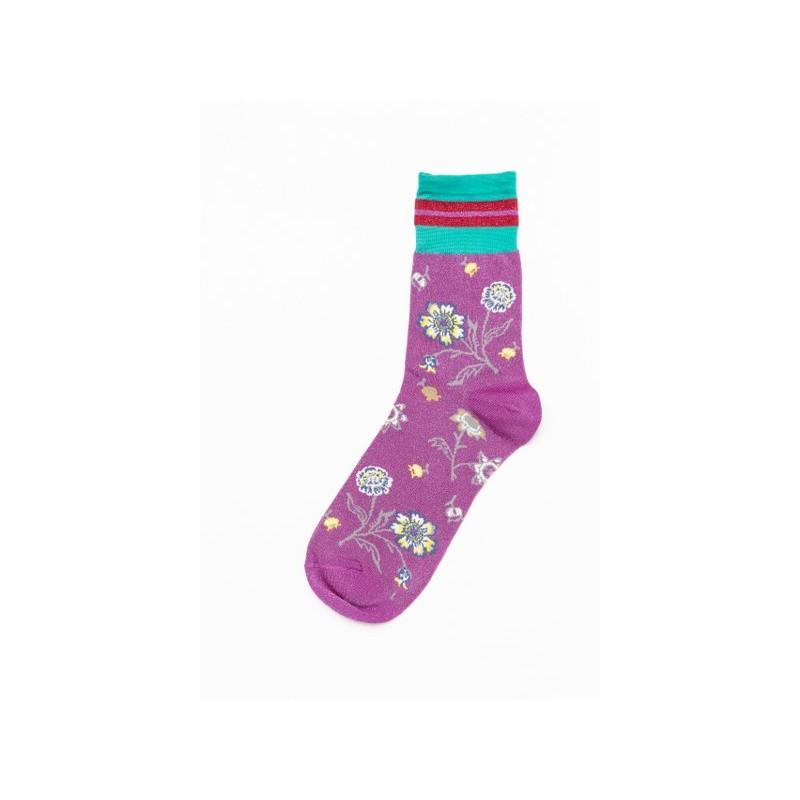 Maya Viscose Woman Socks in Viscose with Flowers