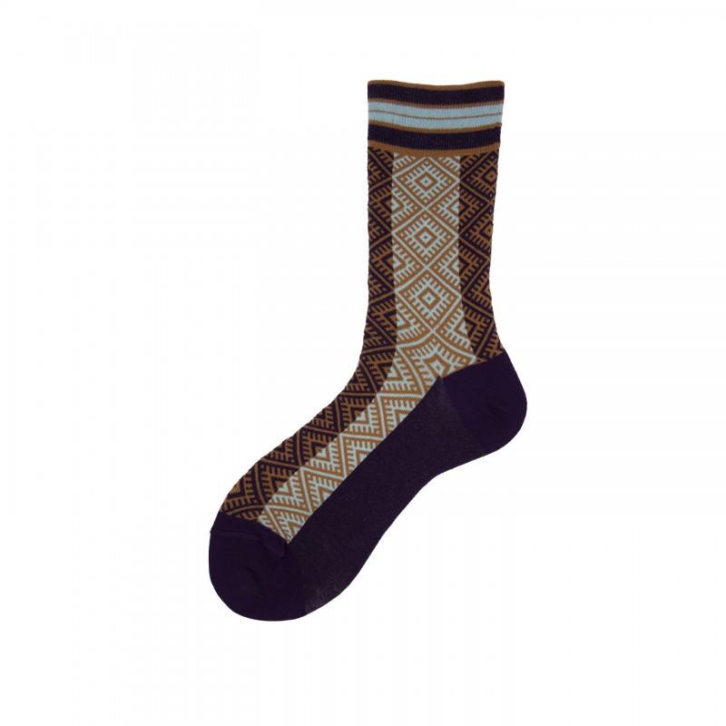 Short Socks with Ethnic Motif in Cotton Talika