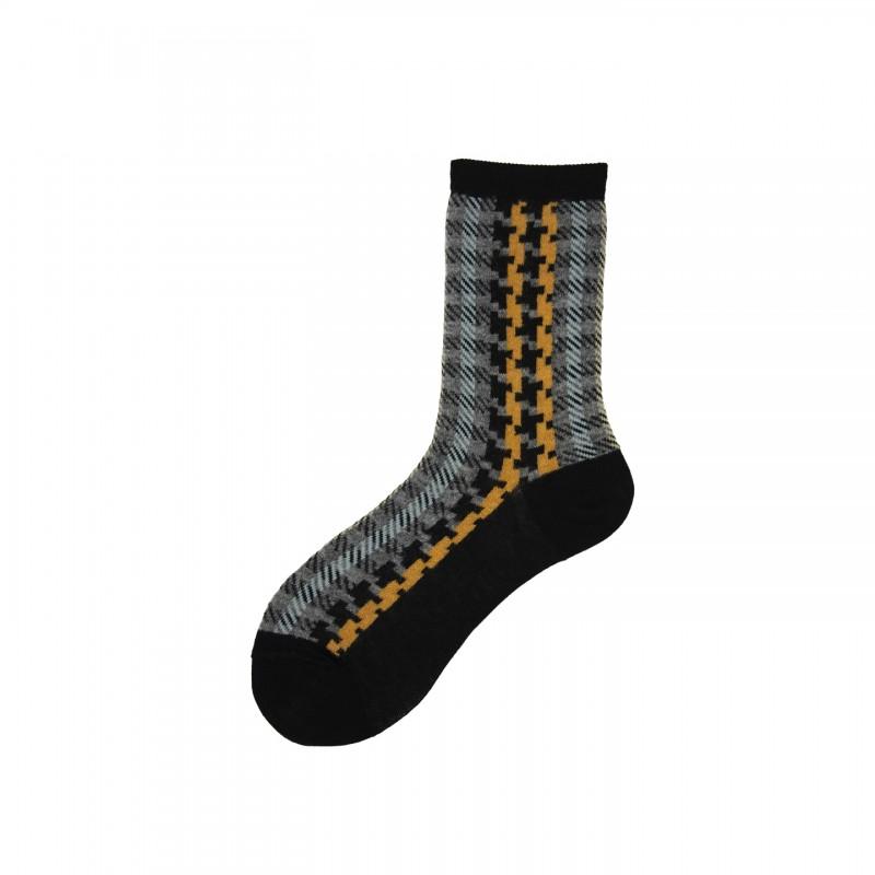Short Socks with Pied de puole Pattern in Cotton Atelier