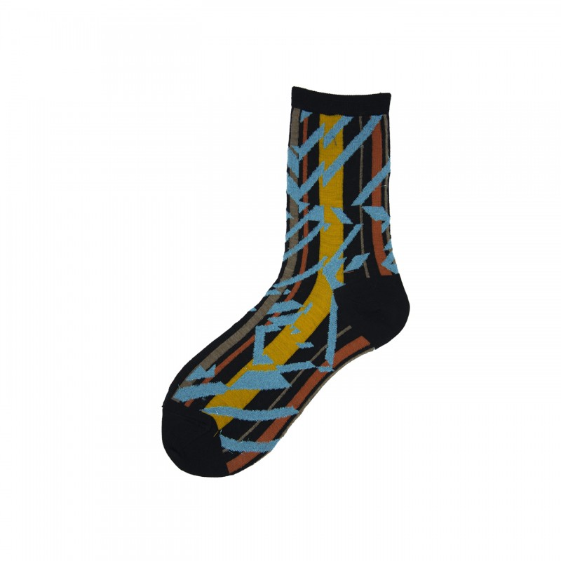 Short Socks with ZigZag Pattern in Virgin Wool Astratto