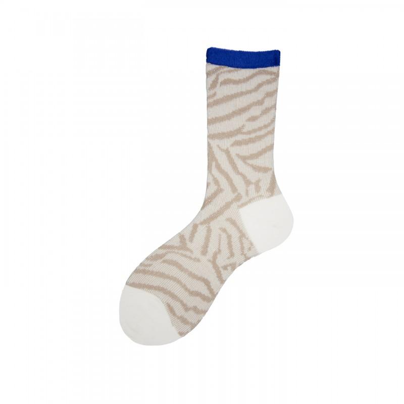 Short Socks with Lurex Stripes in Virgin Wool Oasisi
