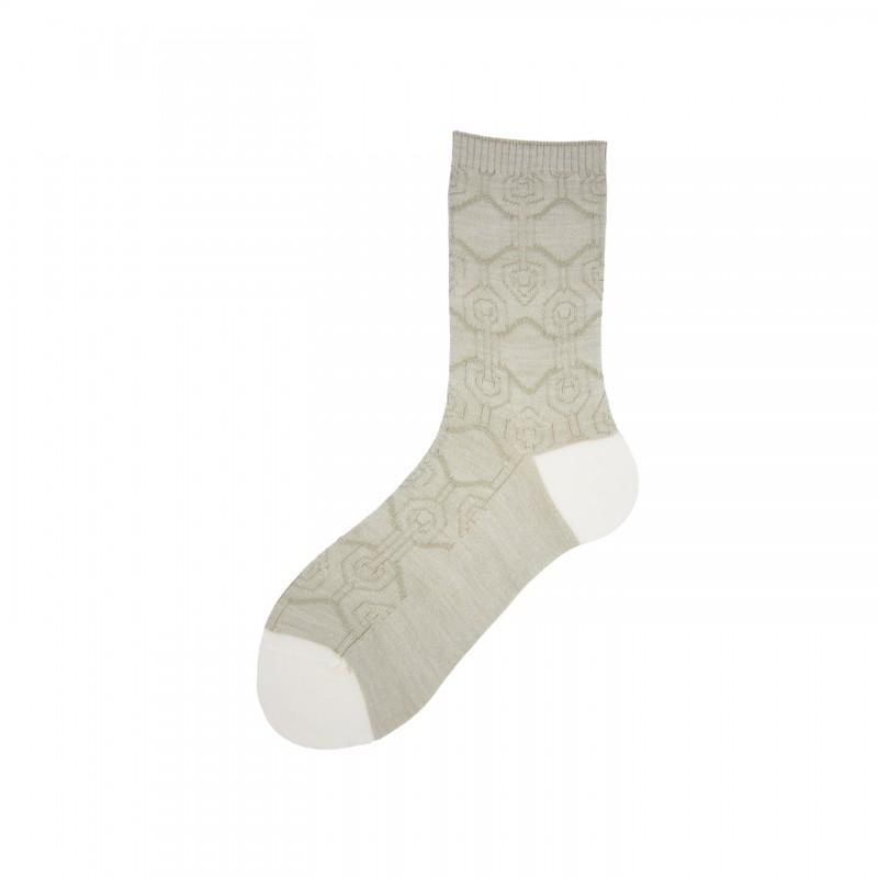 Short Socks with Detail in Virgin Wool Smally