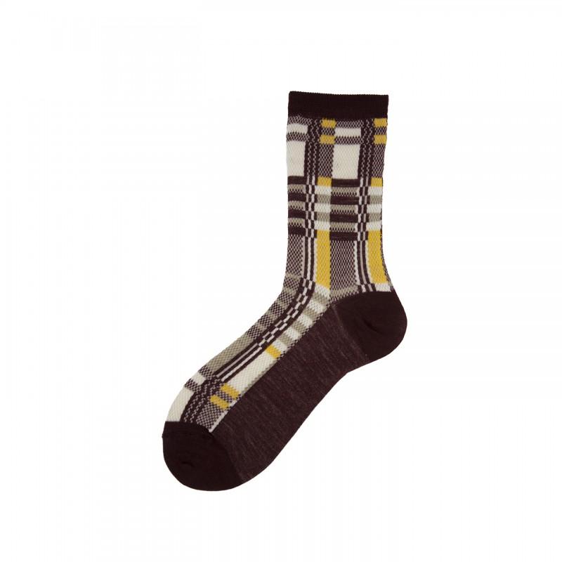 Short Socks with Tartan Pattern in Virgin Wool Kessler