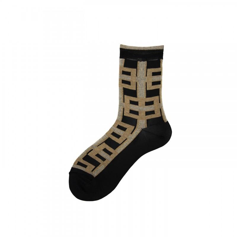 Short Socks with Geometry Pattern in Viscose Aqua