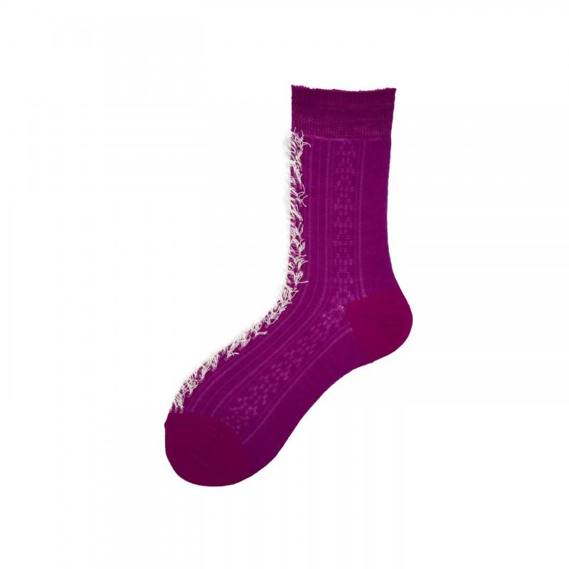 Short Socks with Detail in Virgin Wool Crest