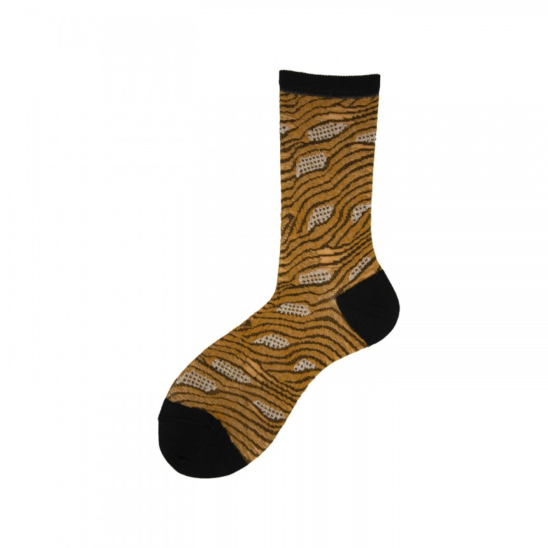 Short Socks with Detail in Cotton Taiga
