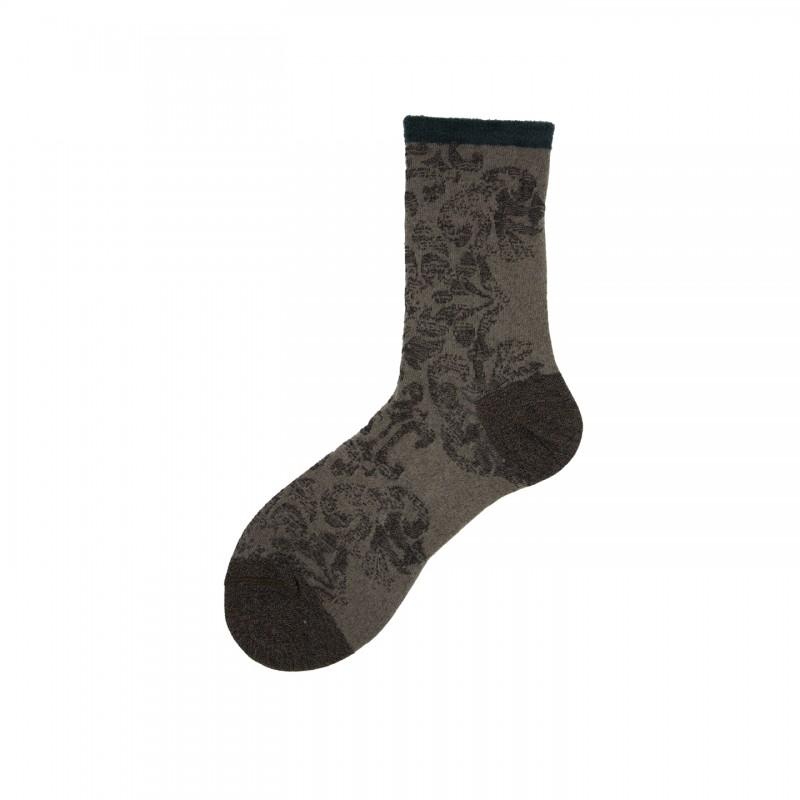 Short Socks with Brocade Design in Cotton Rape'