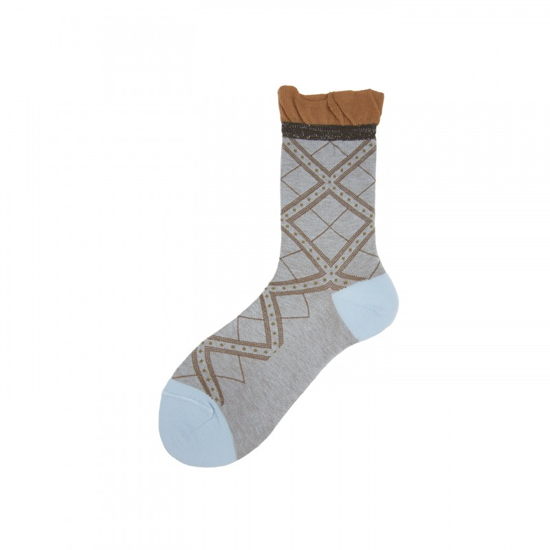 Short Socks with Overcheck in Cotton Shade