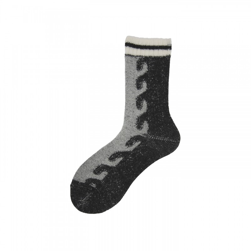 Short Socks with Braid in Virgin Wool Sabah
