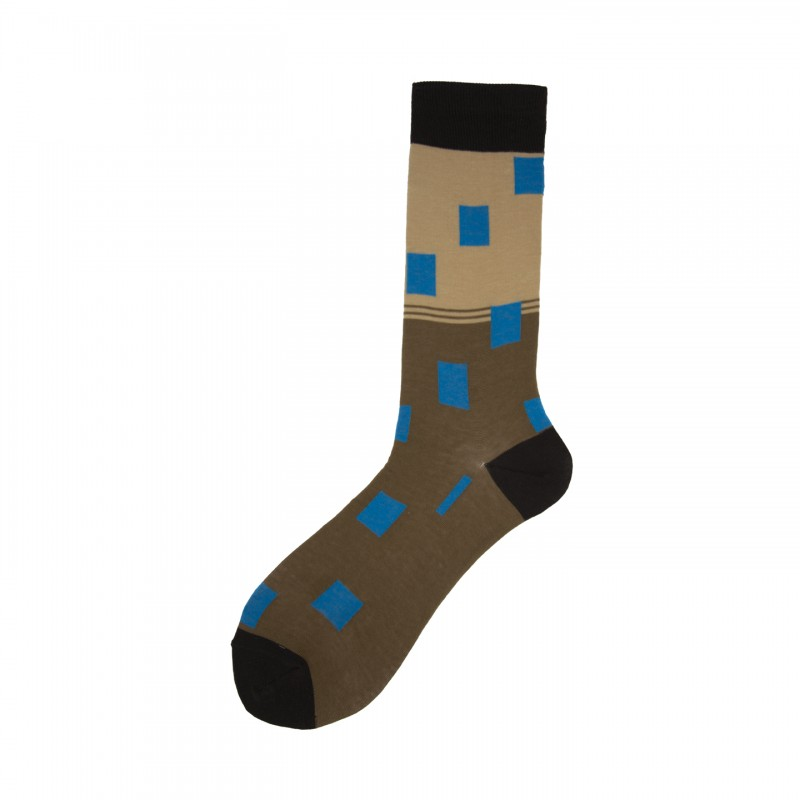 Short Socks with Rectangles in Cotton Caran