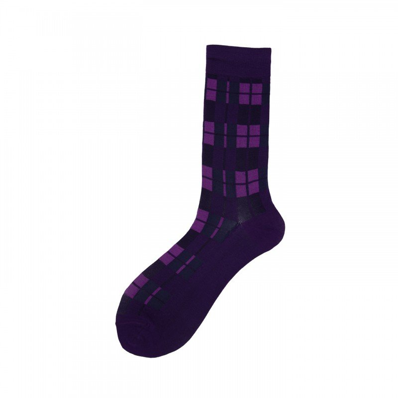 Short Socks with Check in Cotton Rains