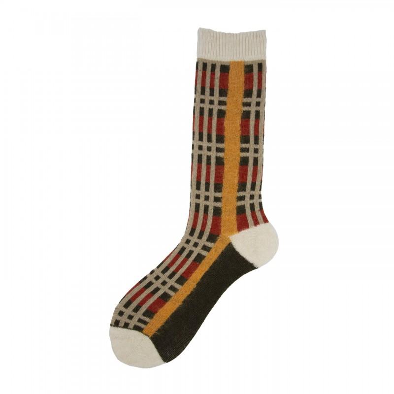Short Socks with Check in Virgin Wool Marlon