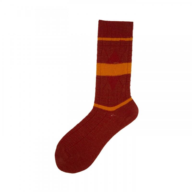 Short Socks with Stripes in Virgin Wool Toast