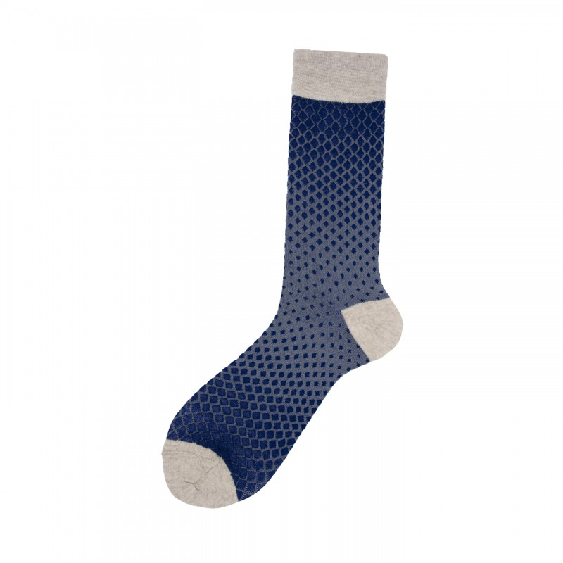 Short Socks with Degrade' Rhombuses in Virgin Wool Gingko